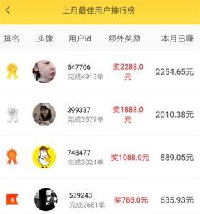 小白赚钱app用户做单排行榜